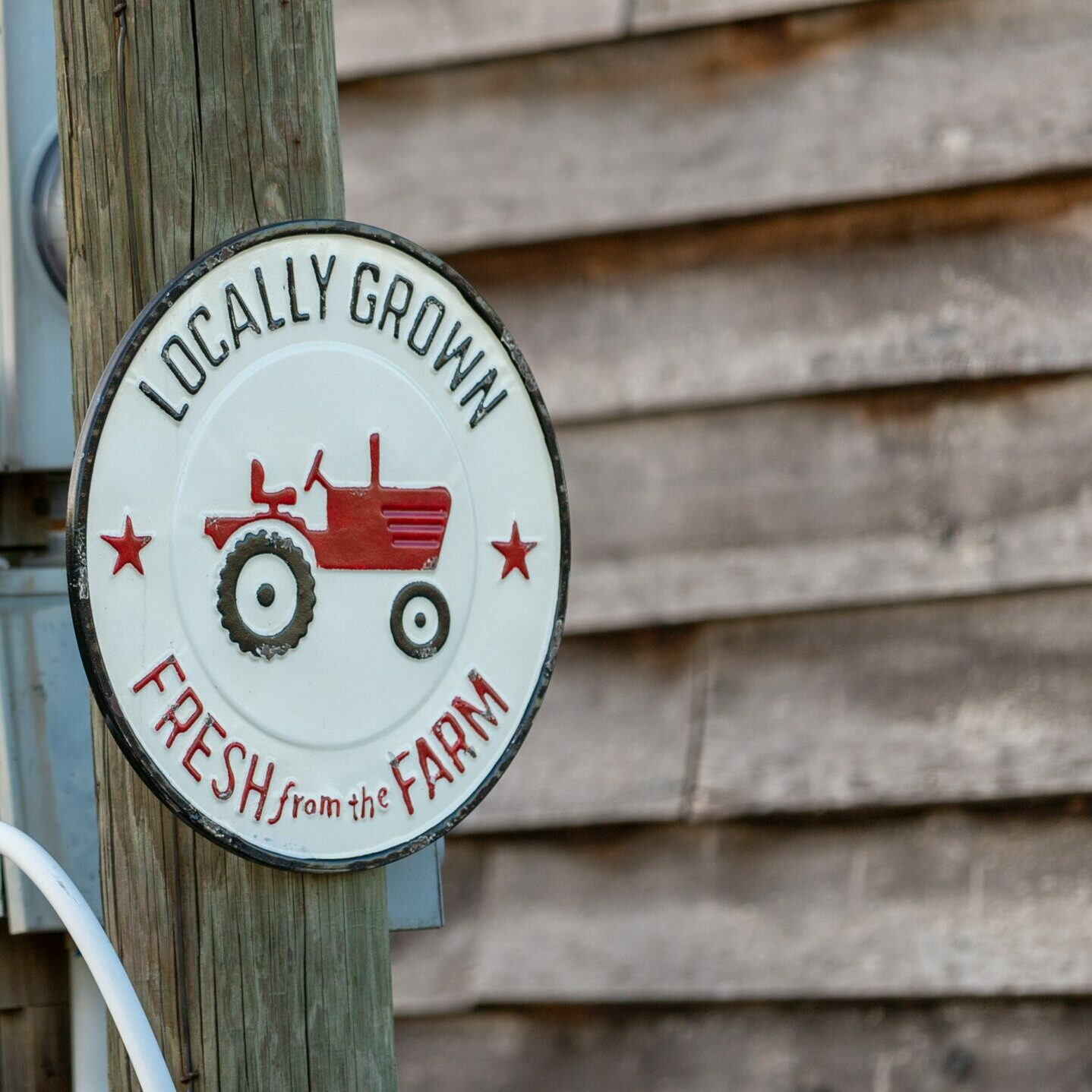 locally grown fresh from the farm sign